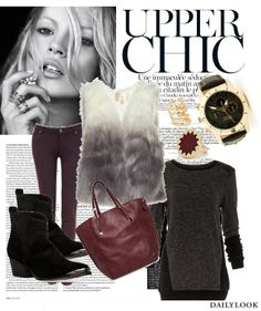 Upper Chic feat. our Ombre Faux Fur Vest. See the look here: http://stylesets.dailylook.com/sets/129195