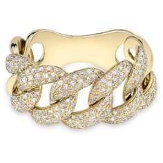 Anne Sisteron  14KT Yellow Gold Luxe Light Diamond Chain Link Ring (€1.830) ❤ liked on Polyvore featuring jewelry, rings, gold, yellow gold jewelry, diamond jewelry, gold ring, gold jewellery and gold diamond jewelry