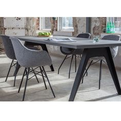 Busc eetkamerstoelen antraciet of grijs | Home Stock Dining Chairs, Dining Room, Dining Table, Cool Furniture, Tablescapes, Cosy, Office Desk, Sweet Home, New Homes
