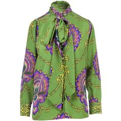 70s Graphic Print Silk Shirt (4.585 RON) ❤ liked on Polyvore featuring tops, green, green silk top, long-sleeve shirt, green top, green long sleeve shirt and graphic tops