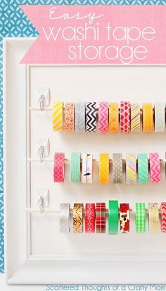 DIY Craft Room Storage Ideas and Craft Room Organization Projects - Easy Washi Tape Storage - Cool Ideas for Do It Yourself Craft Storage, Craft Room Decor and Organizing Project Ideas - fabric, paper Craft Room Storage, Paper Storage, Craft Organization, Diy Storage, Storage Ideas, Ribbon Storage, Planner Organization, Wall Storage, Craft Rooms