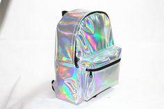 Mujeres de holograma holográfica láser plata mochila escolar de cuero bolso de mano Rare en Mochilas de Equipaje y bolsas en AliExpress.com | Alibaba Group