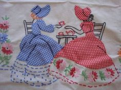 Vintage Souther Belle Embroidered Table Cloth by PlayfullyVintage Vintage Embroidery, Embroidery Art, Embroidery Applique, Embroidery Stitches, Embroidery Patterns, Quilt Patterns, Machine Embroidery, Doll Quilt, Girls Quilts