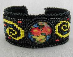 Colorful Bohemian Floral Bead Loomed Cuff by SimplyBeadedTreasure, $65.00 #handmadejewelry