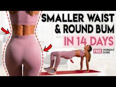 Get a smaller waist and round bum in 14 days with this free home workout guide. I will show you how to get a small waist and big bum at home and get results. Bum Workout, Leg Workout At Home, Workout Guide, Workout Videos, Workout Plans, 7 Day Workout Plan, Woman Workout, Workout Women, Workout Gear