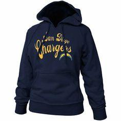 San Diego Chargers Ladies Navy Blue Takeaway Raw Edge Pullover Hoodie Sweatshirt