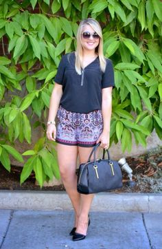 Chloe & Isabel Jewelry, @forever21 Scarf Printed Shorts, Black @marshalls #fabfound Vince Camuto Bag & Sunnies via @dmcheever