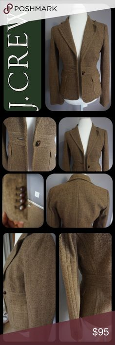 """NEW Listing! J. Crew Blazer! NWOT! New Listing J. Crew Herringbone Blazer fully Lined inside. Brown Herringbone Blazer made of 90% Wool  10% Nylon.  Lining made of 100% Acetate. Two outer pockets  one button Closure. Four buttons on bottom of each Sleeve. From top of shoulder to end of Blazer.....22inches and 24"""" from top of Sleeve to bottom of Sleeve. Never worn! J. Crew Jackets & Coats Blazers"""