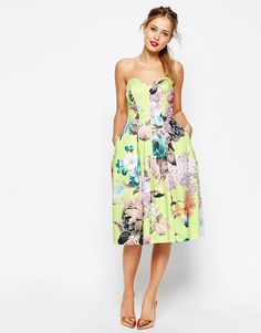 ASOS SALON Lime Floral Bandeau Midi Prom Dress