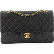 Chanel Medium Classic Double Flap Bag in Black Lambskin Leather