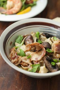 Bacon and Cremini Mushroom Tagliatelle {Via The Fatty Chalupa}
