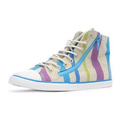 Sporty happy feet from Nine West; Highrise sneakers in Turquoise rainbows.