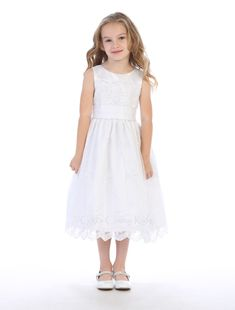 Embroidered organza with satin trim Tea length Made in USA Girls First Communion Dresses, Kohls Dresses, Tea Length, White Flowers, Flower Girl Dresses, Satin, Gowns, Usa, Elegant