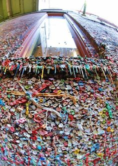 Gum Wall in Post Alley by Pikes place.  An Entire wall covered in gum.  Pretty interesting if you can get past the grossness