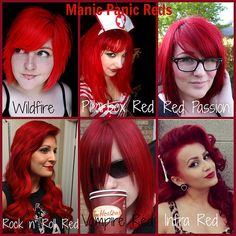 Manic panic Reds-- Made a collage of Manic Panic's Reds - Wildfire  Pillarbox red Red passion Rock n' roll red Vampire Red  Infra Red
