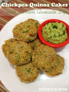 Chickpea Quinoa Cakes with Lemon Avocado Dip | Nature Box | #recipe #vegetarian #vegan