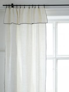 bordered linen half height curtains in bathrooms