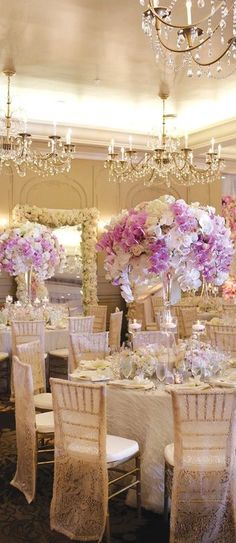 Pink orchid and white luxury wedding