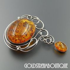 STERLING SILVER HONEY BALTIC AMBER WIRE DESIGN DANGLE ART NOUVEAU BROOCH PIN