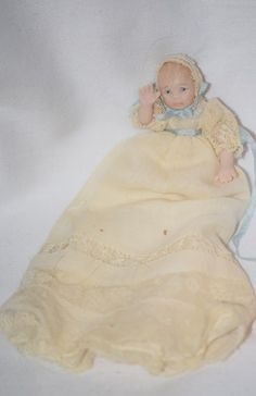 Vintage Doll Miniature Dollhouse Artist Christening Gown Pouty