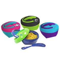 Hot Lunch : Fit & Fresh Lunch Containers.  Great for school, spoon is built into lid.  Already love their cold food containers.