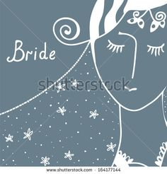Wedding invitation with bride retro design - stock vector