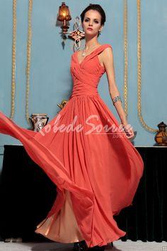Cou d'orange longue robe de soirée V profond Simple [Doris1305160006] - €120.63 : Robe de Soirée Pas Cher,Robe de Cocktail Pas Cher,Robe de Mariage,Robe de Soirée Cocktail.