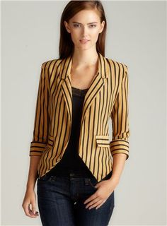STRIPED BLAZER IN TAN/BLACK $30