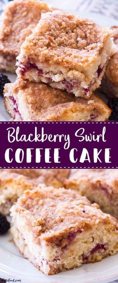 This Blackberry Swirl Coffee Cake Recipe is a simple yet elegant addition to any breakfast, brunch, or afternoon coffee break! This is my favorite homemade coffee cake recipe, and the addition of blac Cake Recipes, Dessert Recipes, Desserts, Brunch Recipes, Breakfast Recipes, Blackberry Coffee Cakes, Coffee Tasting, Breakfast Cake, Holiday Cakes