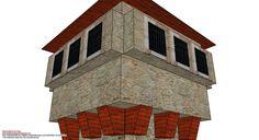 Detalle de las texturas fotográficas en la parte alta de la maqueta de papel El modelo de hoy es una torre de vigilancia de estilo libre, diseñada pensando en las escenografías de los wargamers. Como siempre, se han utilizado texturas fotográficas de alta definición que otorgan a la pieza el realismo esperado; piedra y madera son las materiales principales de esta construcción.