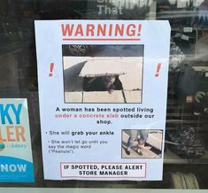 Warning - a woman has been spotted living under a concrete slab outside our shop Funny Signs, Funny Jokes, Funniest Jokes, Intense Ab Workout, Flat Abs Workout, Store Manager, Funny Wedding Photos, Funny Memes About Girls, Dog Shaming