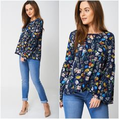 Boho Hippie Multi Coloured Floral Top Tunic Fluted Sleeve Festival Sizes 10 - 14 Bohemian Tops, Boho Hippie, Smocking, Floral Tops, Tunic Tops, Clothes For Women, Sleeves, Shirts, Outfits