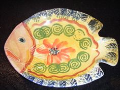 Small Italian Hand Painted Fish Design little Plate Christmas, Holiday Parties