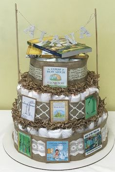 Diaper Cake Book Theme by KARZAcustom on Etsy