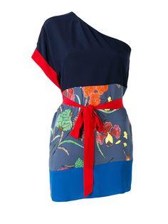 #Italist - #Diane von Furstenberg Silk One Shoulder Wrap Blouse - AdoreWe.com