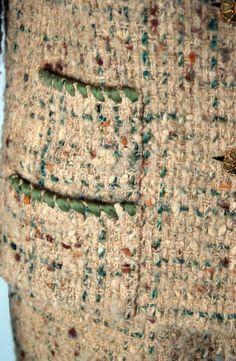 1958 Chanel Oatmeal Green Wool Tweed Skirt & Jacket Suit.