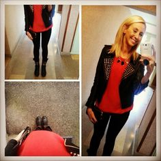 Alexandra porte le pull MABOUTON rouge Sud express - Fashionistas People