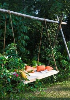 Branches, rope and a pallet.  Voila!  A swing:)