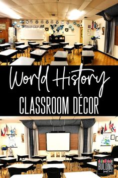 Middle School World History Classroom: Inspiration for a small and windowless classroom - Building Book Love High School World History, World History Classroom, Ancient World History, Middle School History, World History Lessons, History Teachers, Teaching History, Nasa History, History Education
