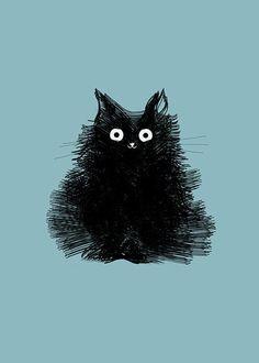 Black Cat Art Print Illustration Cute Cat by TheLonelyPixel … Schwarze Katze Kunstdruck Illustration Cute Cat von TheLonelyPixel Illustration Rose, Illustration Mignonne, Illustration Art Nouveau, Vintage Illustration, Character Illustration, Cute Black Cats, Cute Cats, Black Cat Drawing, Cute Cat Drawing