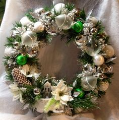 $96.53 on etsy Vintage Christmas Wreath Handmade made with Vintage, Glass and Shatterproof Ornaments- Evergreen Evermore