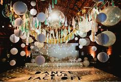 Amazing dance floor, wedding reception!! Balloons, disco ball, and lanterns!