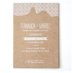 kraft paper, screen printing invitation by www.mythunderstorm.com/blog #fezocaegabi #convites #casamento