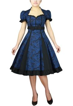 Vintage Style Blue Pin Up Dress