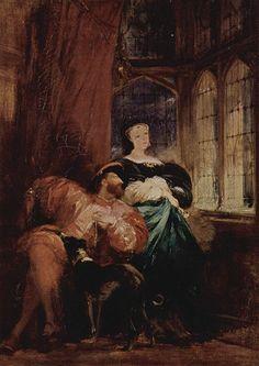Richard Parkes Bonington. François I and Marguerite de Navarre  based on the discovery of a scratched inscription on a window at the Château de Chambord.