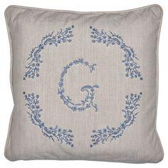 "GreenGate Kissenbezug ""G"" (Dusty Blue)"