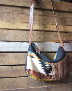 Large black, tan and teal Pendleton Wool  hobo crossbody with leather strap and fringe accents/ Boho bag with leather fringe
