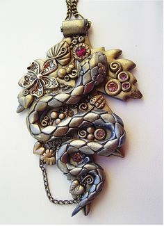 Dragon pendant with polymer clay