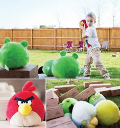 More great angry bird party ideas.  Want to buy the wooden blocks in this post to use for an angry bird game.