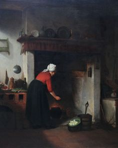 Dutch Victorian Genre Painting Woman Cooking Richard Taylor Fine Art Richard Taylor, Dutch Golden Age, Dutch Artists, Cottage Interiors, Brain Food, Artist Names, Oil On Canvas, Boards, Victorian